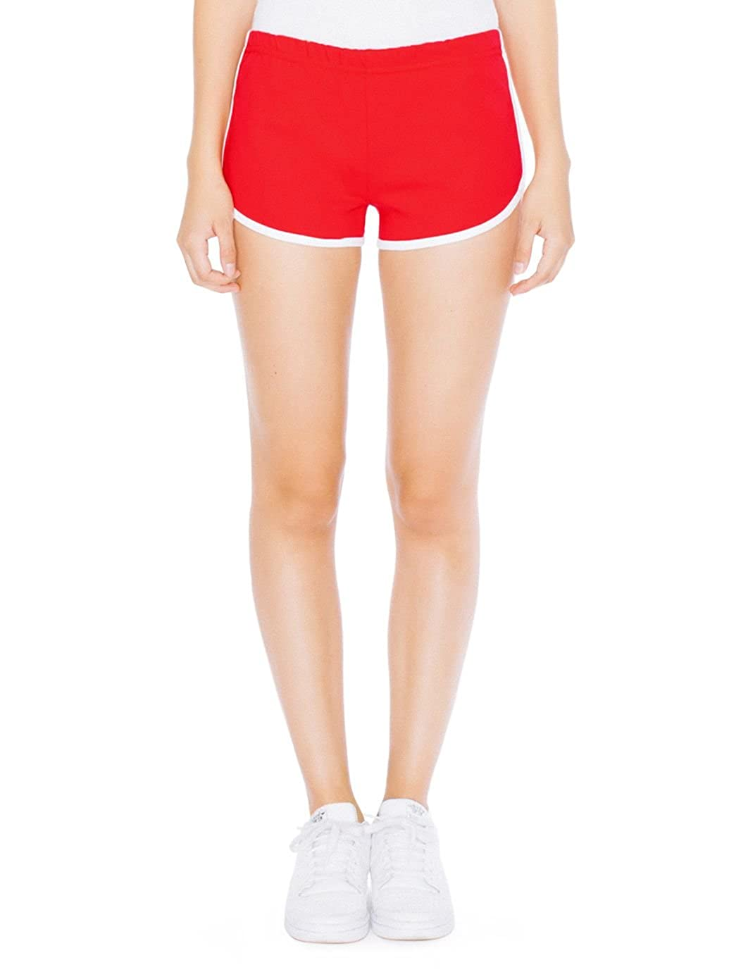 American Apparel Interlock Running Short - Red / White / S