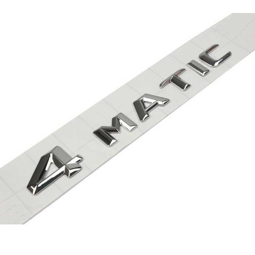4MATIC TURBO leaf plate refitting 3D Car Logo decoration for Mercedes benz Silver