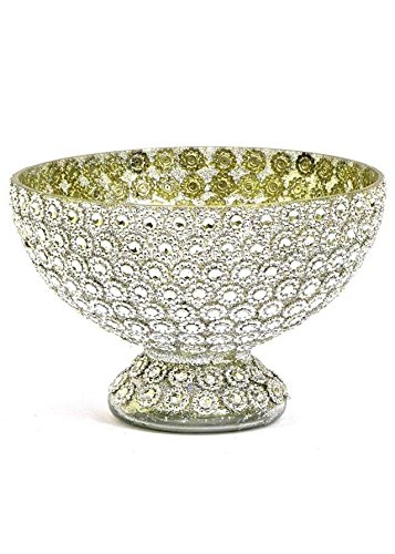 Floral Home Jeweled Glass Centerpiece Bowl in Silver - 5