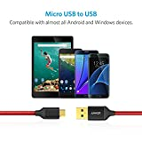 [2-Pack] Anker 6ft/1.8m Nylon Braided Tangle-Free Micro USB Cable with Gold-Plated Connectors for Android, Samsung, HTC, Nokia, Sony and More (Red)