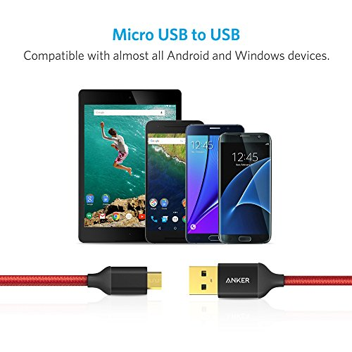2-Pack-Anker-6ft-18m-Nylon-Braided-Tangle-Free-Micro-USB-Cable-with-Gold-Plated-Connectors-for-Android-Samsung-HTC-Nokia-Sony-and-More-Red