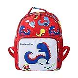 DDLBiz Child Baby Girls Boys Kids Cartoon Dinosaur Animal Backpack Toddler School Bag (Red, L)