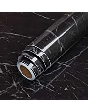 """LaCheery Black Contact Paper 15.8""""x160"""" Self Adhesive Wall Paper Marble Countertop Contact Paper Removable Wallpaper Peel and Stick Countertops for Kitchen Cabinets Backsplash Table Counter Top Covers"""