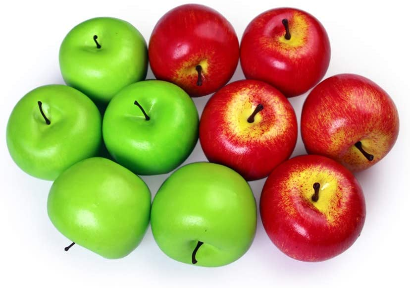 10 Pcs Artificial Apples Fake Frutis Apples, Simulation Apples for Home Decoration Lifelike Normal Size Apples Fake Apples for Kichen Party Chirstmas Decor (5Pcs Red Apple + 5 Pcs Green Apple)