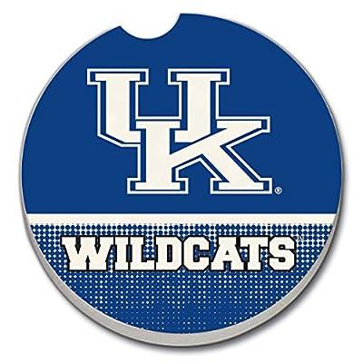 University of Kentucky Wildcats on Blue - Single Ceramic Car Coaster by CounterArt