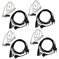 4x HQRP 2 Pin Acoustic Tube Earpiece Headsets Mic for ICOM IC-F4001, IC-F4002, IC-F4003, IC-F4011 + HQRP UV Meter