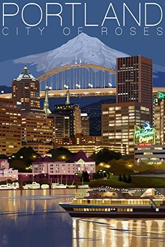 Portland, Oregon - Skyline at Night (9x12 Art Print, Wall Decor Travel - Portland Oregon Supplies Framing