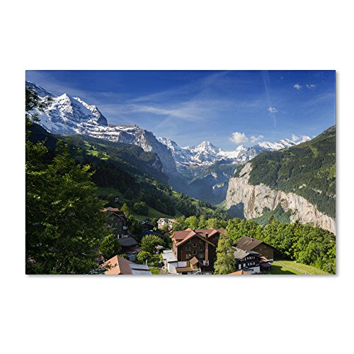 A New Day in The Swiss Alps Artwork by Philippe Sainte-Laudy, 12 by 19-Inch Canvas Wall Art ()