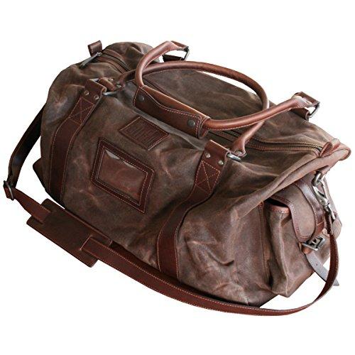 LINDENMANN The Art of Belt Leder-Reisetasche / Kurzreise-Tasche Herren, Rindleder mit Canvas, braun