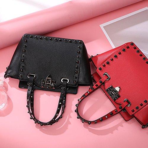de main sac de sac en sac sac à cuir Sac à de à de diagonale rivet de à diagonale de main de main Red main 0qwqpvA