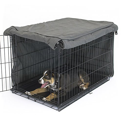 Charcoal Crate Cover | Completely Covers Kennels and Wire Crates with Double Access Door Panels, XX-Large - 48