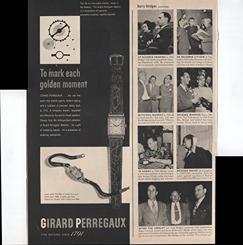 Girard Perregaux Fine Watches Since 1791 To Mark Each Golden Moment One Fine Watch That Blends Superb Modern Styling With A Tradition Of Precision 1950 Vintage Antique Advertisement