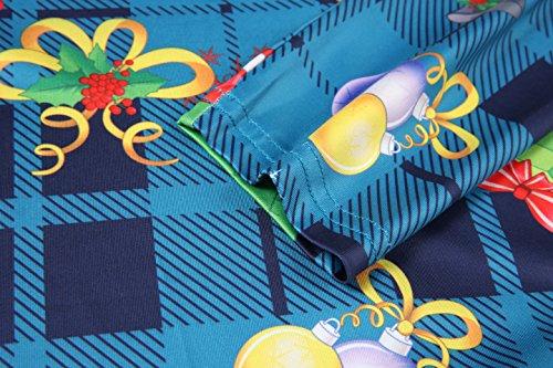 Women's Christmas Gifts Flare Xmas Aphratti Santa Christmas Sleeve Long Dress Gift Print Swing Teal d6c7wZUgq7