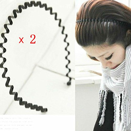 AKOAK 2 Pcs Unisex Black Spring Wave Metal Hoops Hair Bands Girl Men`s Head Band Accessory