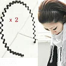 AKOAK 2 Pcs Unisex Black Spring Wave Metal Hoops Hair Bands Girl Men`s Head Band Accessory