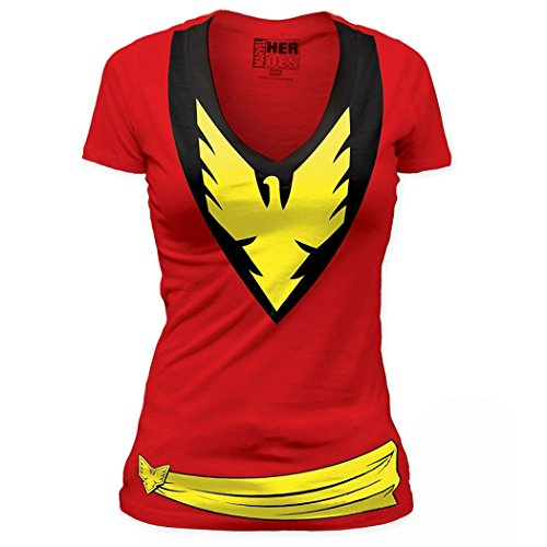 X-Men Dark Phoenix Costume Junior V-Neck T-Shirt-Junior Medium [JM] -