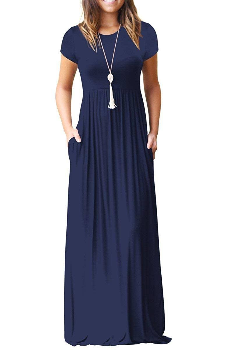 8102a4bd1096 GRECERELLE Women's Short Sleeve Loose Plain Maxi Dresses Casual Long Dresses  with Pockets at Amazon Women's Clothing store: