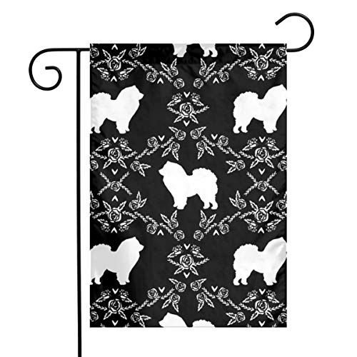 Holiday Seasonal Yard Garden Flags Chow Chow Floral Silhouette Dog Breed Fabric Black and White_1236 Double Sided Premium Durable Bright Polyester, 12 x 18 Inch ()
