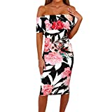 PeiZe - Women Summer Floral Off Shoulder Backless Bodycon Dress (S, White)