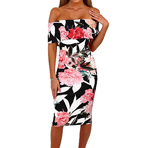 PeiZe - Women Summer Floral Off Shoulder Backless Bodycon Dress (S, White) by PeiZe