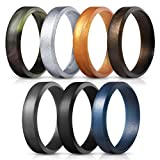 Saco Band Silicone Rings for Men - 7Pack & 4Pack Beveled Rubber Wedding
