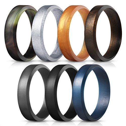 Saco Band Silicone Rings for Men - 7Pack & 4Pack Beveled Rubber Wedding Bands (Camo Dark Blue Gray Black Bronze Gold Silver, 9.5 - 10 (19.8mm))