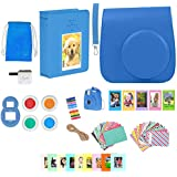 Fujifilm Instax Mini 9 Camera Accessories - 16 Piece Kit Includes: Protective Case + Strap, 2 Photo Albums, Keychain, Emoji Stickers, Selfie Lens, Magnets, Hanging Frames, Gift Box (cobalt Blue)