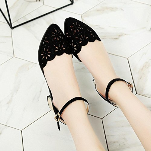 Women Shoes - Spring and Summer Fashion Wild Sexy Hollow Low-Heeled Shoes Flats Dance Shoes (Gray) Black QLpUde2EkG