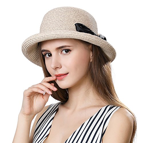 Straw Sun Hat for Women Fedora Summer Beach Accessories Wide Roll up Brim Packable Panama Cloche Beige (Beige Bucket)