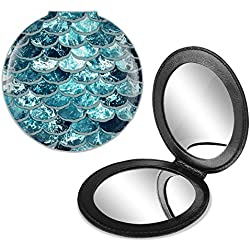 FINCIBO Round Foldable PU Leather Compact Pocket Purse Makeup Mirror, Dual Sided Travel Mirror, Mermaid Scales Blue Wave