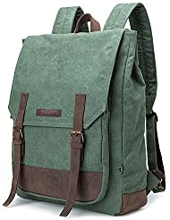 BUG Leather Canvas Backpack, 2 Way to Carry-Coral Green, Medium