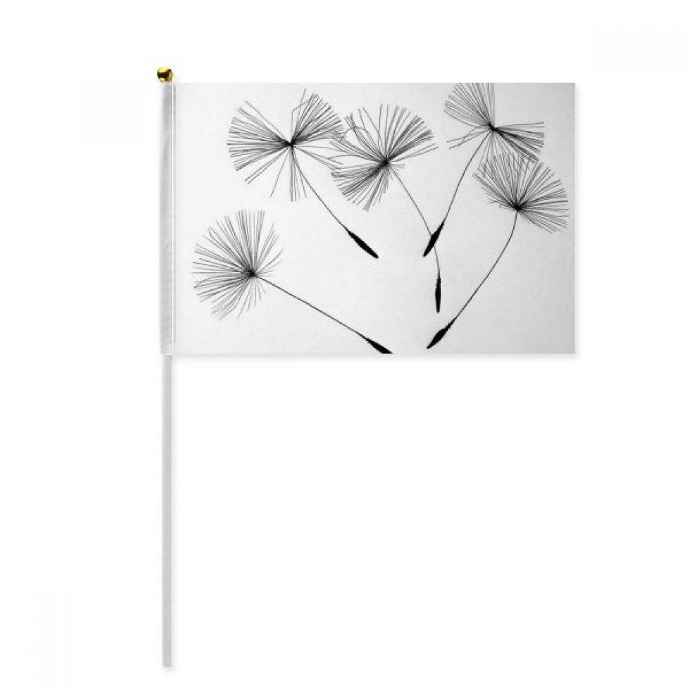 Black Grey White Dandelion Hand Waving Flag 8x5 inch Polyester Sport Event Procession Parade 4pcs