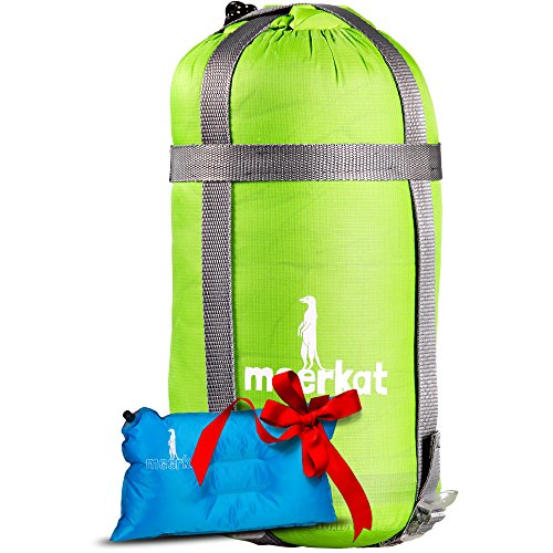 Ultralight Down Sleeping Bag for 3-Season Camping with Self-Inflating Pillow for Backpacking, Hiking & Camping. Lightweight Mummy Style, Long Size. Includes Washable Pillow Case, by Meerkat