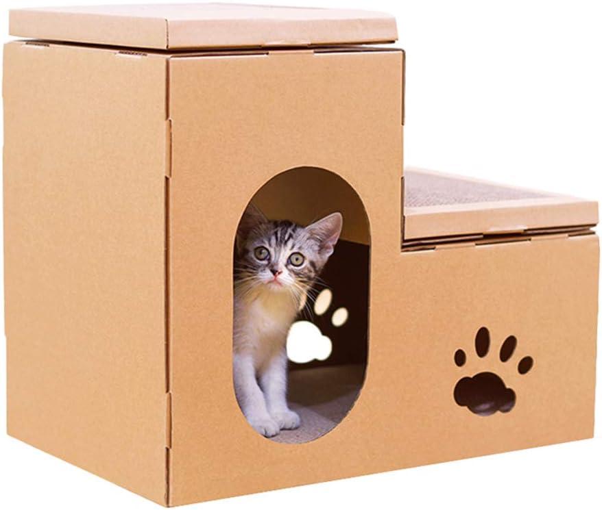 Cama para Perros Casa de Perro Escalera corrugada Casa de Gato Garra Perro Casa de Perro Casa de cartón Casa Gato Junta de rasguño Regalo (Color : Brown, Size : 50 *