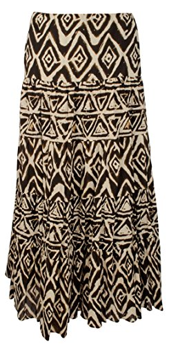 Lauren Long Skirt Skirt - Lauren Ralph Lauren Womens Printed Ruffle Maxi Skirt Brown M