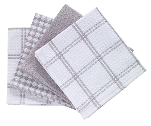 Textiles Kitchen (T-fal Textiles 24354 4-Pack Cotton Flat Waffle Dish Cloth, Gray)