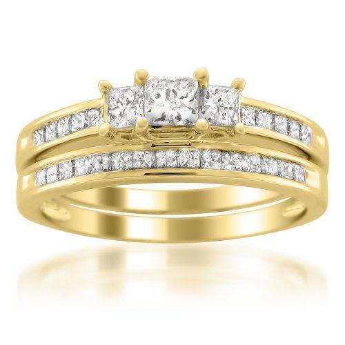 14k Yellow Gold Princess-cut Three-Stone Diamond Bridal Set Wedding Ring (1 cttw, I-J, I1-I2), Size 7