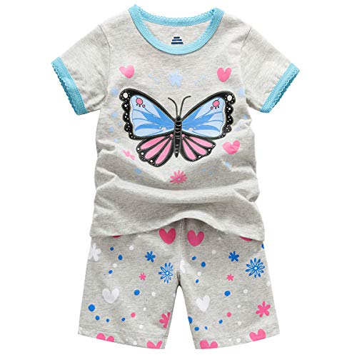 B.GKAKA Little Girls Summer Pajamas Size 7 Glow in The Dark Kids Short Clothes Sets 2 Pcs Pjs -