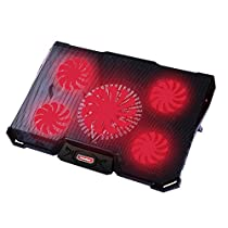 Nobelbird Laptop Cooler, Laptop Cooling Pad with 5 Quiet Fans for 12-17.3 Inch Laptop, Cooler Pad with LED Light, Dual 2 USB Ports, Adjustable Mount Stand Height Angle (5 Fans)