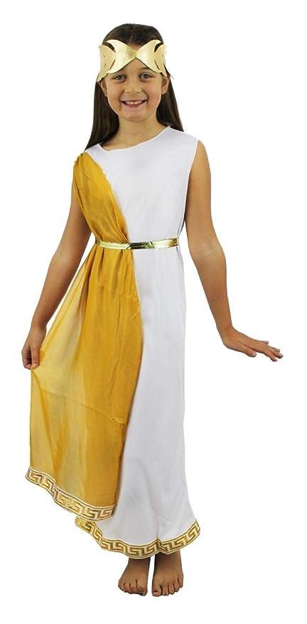 ILOVEFANCYDRESS Disfraz DE Nina Romana Vestido Blanco con Cinta Dorada Y Corona(XL)