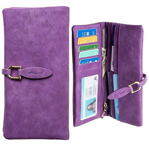 CellularOutfitter Slim Suede Leather Clutch Wallet - Extra Slot for Smartphone, Vintage Design - (Accented Sling Handbag)