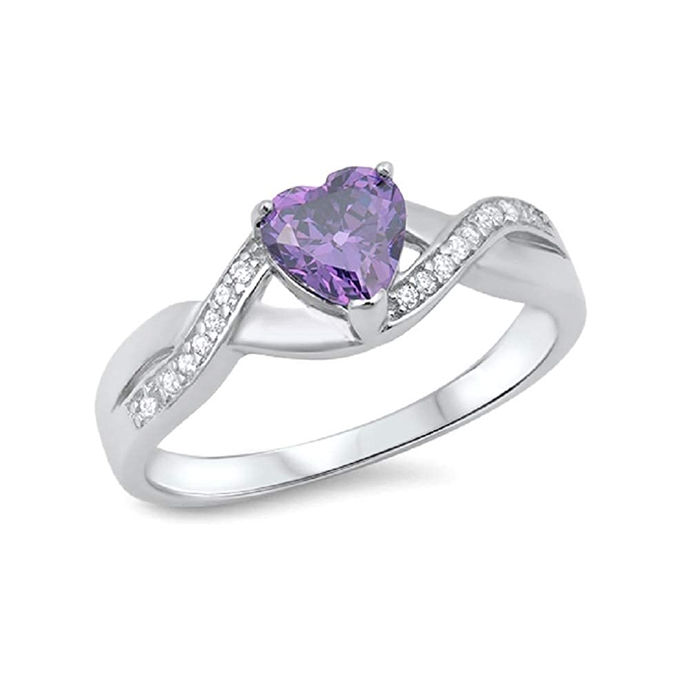 CloseoutWarehouse Cubic Zirconia Infinity Heart Ring Sterling Silver Color Options, Sizes 4-13