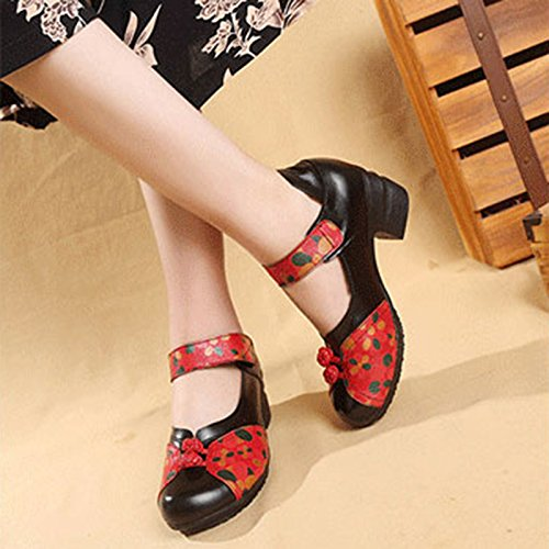 Women's Soft Real Leather Comfortable Round Toe Mid Heel Mary Jane Shoes B07CYGPHP7 6.5 M US|Style 4 Black