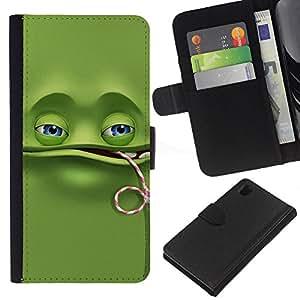 KLONGSHOP // Tirón de la caja Cartera de cuero con ranuras para tarjetas - Divertido de la rana verde - Sony Xperia Z1 L39 //