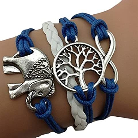 Lookatool® Handmade Charms Tree Elephant Knit Leather Rope Chain Bracelet Gift - Bracelets