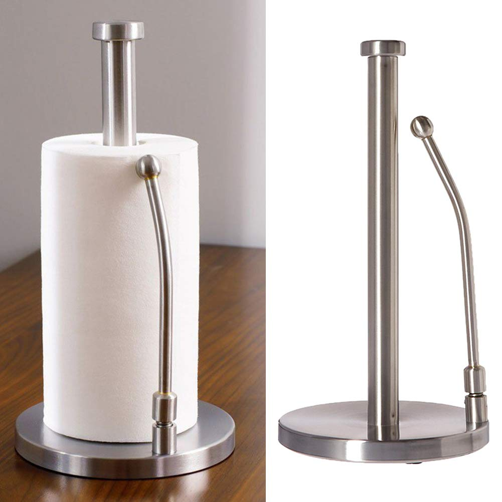 Behavetw Kitchen Roll Holder, Stainless Steel Standing Paper Towel Holder with Non-Slip Heavy Duty Base Countertop Tissue Holder for Bathroom,Kitchen(17 * 35cm)