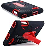 Black Red Double Layer Kickstand Hard Hybrid Gel Case Cover For LG Intuition / Optimus Vu VS950