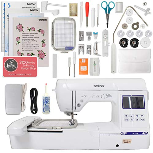"""- Brother SE1900 Combination Sewing and Embroidery Machine Bundle with 5""""x7"""" Embroidery Field and Large Color Touch LCD Screen"""
