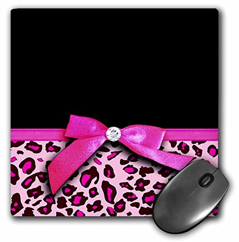 3dRose LLC 8 x 8 x 0.25 Inches Mouse Pad, Hot Pink Leopard Animal Print with Glamorous Faux Ribbon Bow Girly Glam Graphic Stylish Black (mp_120206_1)