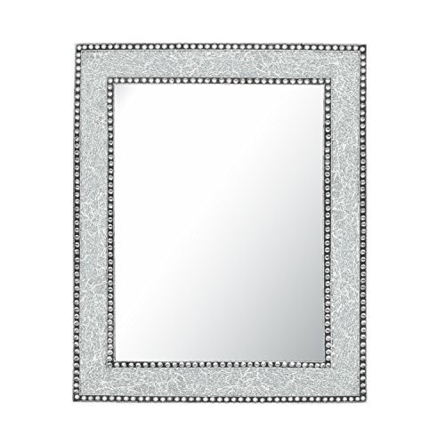 Crackled Glass Decorative Wall Mirror - 30X24 Mosaic Glass Wall Mirror, Vanity Mirror, Glamorous (Silver) (Unique Bathroom Vanity Mirrors)